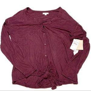 NWT 14th & union maroon burgundy long sleeve